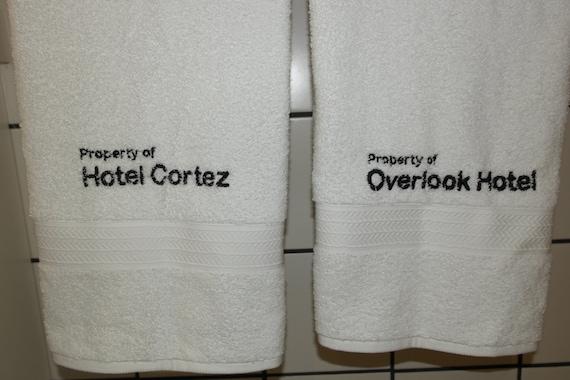 Horror Bath Towel Set  (2 bath towels, embroidered) (horror, bates, bates motel, overlook hotel, overlook, hotel cortez, cortez)