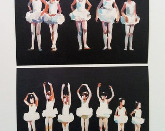 Small Ballet Dancers - figure 2 art prints on paper-Figures painting -  children prints - girls art-  Digital Prints & Reproductions