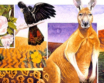 Australian Outback - wildlife art - poster print nature watercolour