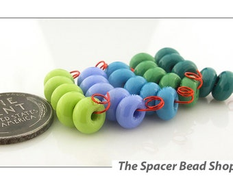PRETTY PASTELS Green Blue HALF Bead Sets Lampwork Spacers Glass Handmade - The Spacer Bead Shop
