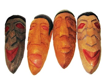 Set of Four Vintage African Carved Wood Wall Masks/ Hand Carved African Wood Wall Plaques/ Extra Free Mask