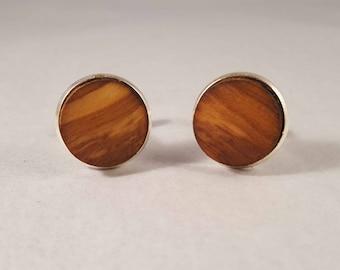 Olive wood cufflinks