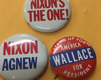 3 Campaign Buttons, Nixon, Wallace, Nixon & Agnew