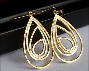 Dangle Earrings-Gold Teardrop Earrings-Modern Boho-Chic Urban-Peacock-Fall Fashion