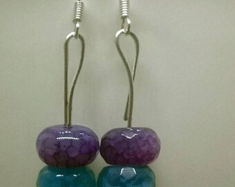 Pink, Blue & Purple Agate Faceted Rondelle Earrings  with sterling silver hooks