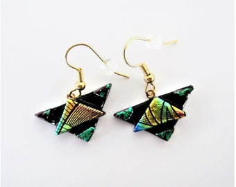 Dichroic Glass 3D Triangle Wire Earrings with Tack Fusing Green Gold Blue Triangles Create 3D Effect Etched Dichroic Fused Glass Dangles