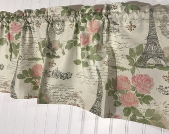 Paris script with pink flowers Eiffle tower curtain valance