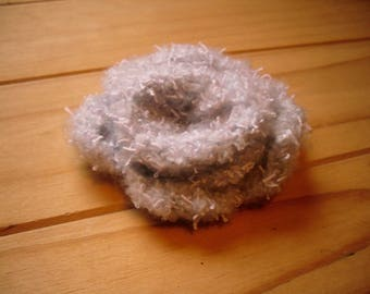 Knitted Flower Brooch, Grey Knitted Brooch