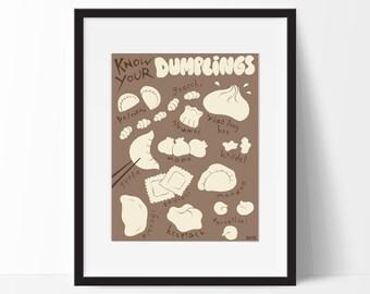 Dumplings, *Original Know Your Dumplings Poster* Kitchen Wall Art, Food Art, Fine Art Print, Brown, Tan, US Letter Size