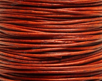 0.5mm Natural Red Premium Leather Cord - 3 Yards / 9 Feet / 2.74 Meters