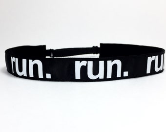 Gift for Runner - Non Slip Running Headband - Adjustable Headband - Marathon Gift  || Black Run Script