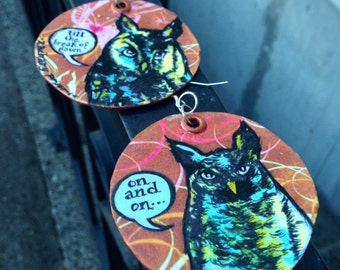 Summer Love Hipster Owls - hand-painted colorful earrings - silver hooks