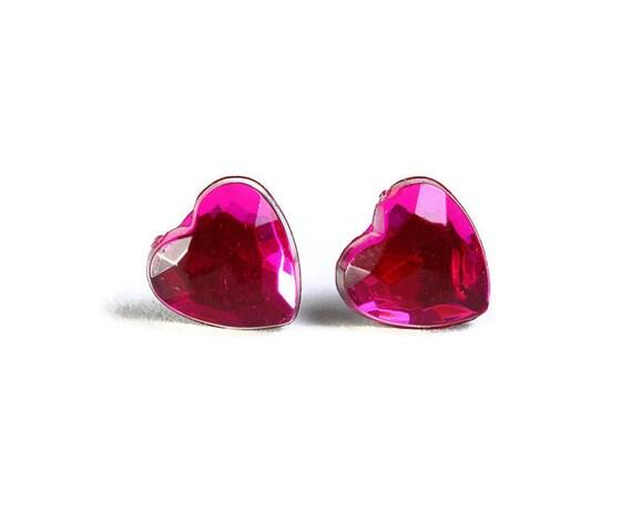 Sale Clearance 20% OFF - Petite hot pink hypoallergenic stud earrings (703)