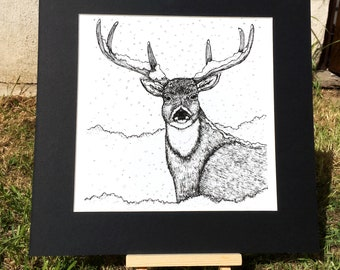 Black and White Stag Print