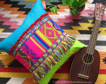 Accent Pillow - FRINGE Boho Cushion Cover - Pillow Covers 16 x 16 - Pink, Turquoise, Lime Green, Vibrant Colourful Home Decor
