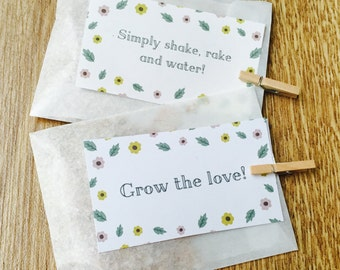 10 x Handmade Wedding Seed Packets With Wildflower Seeds, Seed Packet Favour, Wedding Seed Favour, Grow The Love