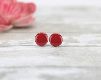 Red earrings / Glitter earrings / Red stud earrings / Sparkly earrings red / Glitter jewelry / Red jewelry / Gift for girl / Earrings gift