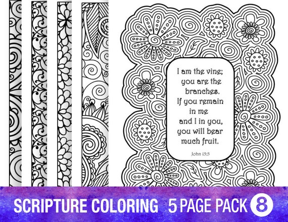 5 bible verse coloring pages set diy adult coloring pages