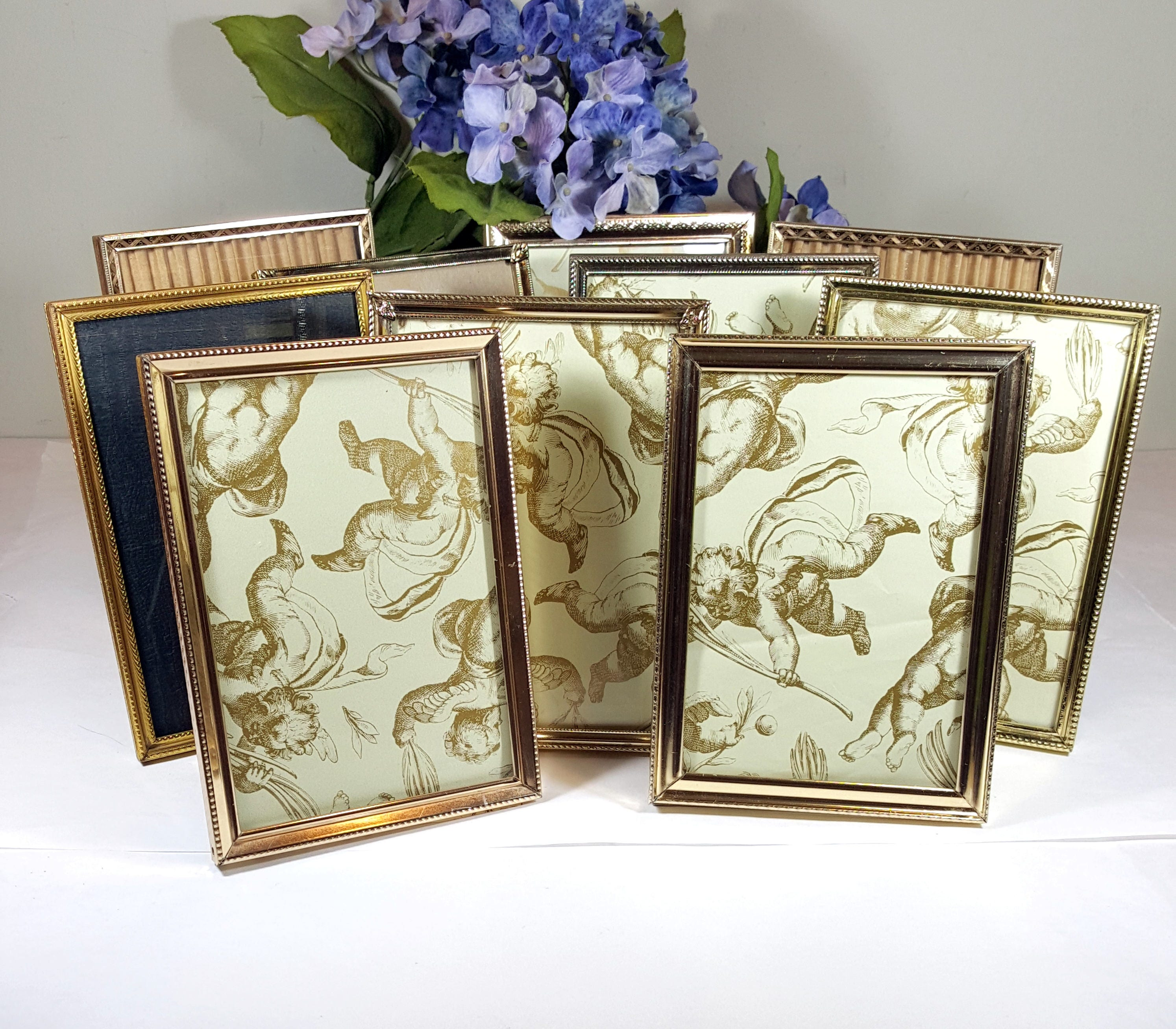 10 vintage gold metal frames 5x7 tabletop standing frames wedding sold by framecottage jeuxipadfo Choice Image