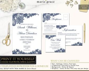 Wedding Invitation, Navy Blue and Lace, Wedding Invitation Template, Printable Invite Set