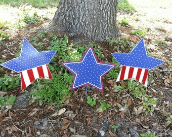 3 Patriotic Metal Star Decorations 4th of July Decor Outdoor Decorations American Flag Yard Art Independence Day Red White and Blue