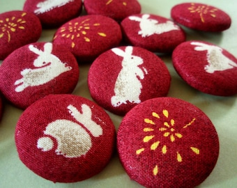 Buttons - Bun Bun Fun Fabric-Covered Buttons - Rabbits & Fireworks - Bunny Party Fabric Buttons - Independence Day Button Set - 4th of July