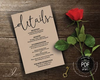Wedding Details Card PDF template, instant download printable, editable insert card, enclosure card in rustic calligraphy theme (TED406_3)