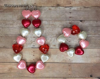 Toddler Valentines Chunky Necklace, Pink Red and Ivory Chunky Necklace, Pink and Red Chunky Necklace, Valentines Chunky Necklace, Pink Red