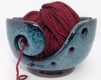 Ceramic Yarn Bowl, Blue Knitting Bowl, Gifts for Knitters, Unique Gifts, Craft Organizer, Home Decor, Yarn Storage, Yarn Dispenser