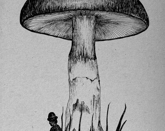 Under the Toadstool- A4 art print by Jon Turner- surreal pen and ink artwork- FREE WORLDWIDE SHIPPING