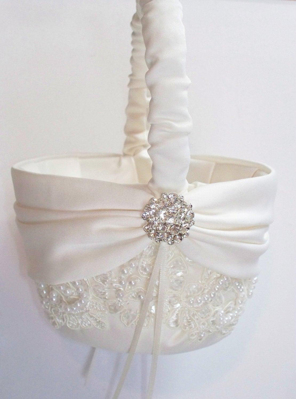 Wedding flower girl basket with beaded alencon lace ivory zoom izmirmasajfo
