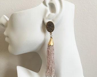 Druzy Tassel Earrings - Long Beaded Tassel Earrings - Gold Drusy Earrings - Sparkly Pink Tassel Earrings - Boho Tassel Earrings - Tassels