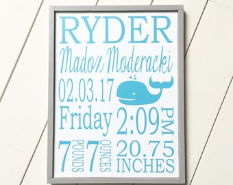 Nursery Name Sign - Baby Name Sign - Birth Stats Sign - Birth Stats Wall Art - Baby Birth Stats - Baby Birth Sign - Birth Announcement