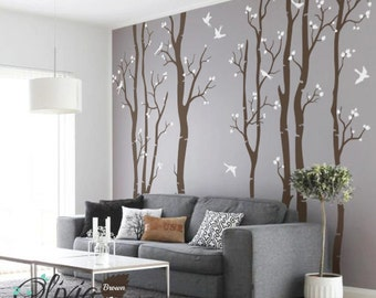 Large Birch Tree vinyl wall decals with birds stickers - NT015