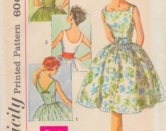 Vintage 1960s Simplicity Sewing Pattern 3426 / Teen Junior Dress with Full Skirt and Three Backs / Size 12 Bust 32