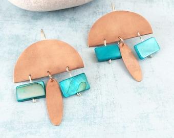 Boho copper earrings - half moon earrings - tribal earrings - turquoise statement earrings - dangle and drop - geometric copper earrings