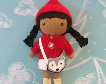 """Handcrafted STUDIO DOLL 15"""" - Girl in the Red Riding Hood Jacket with Wolf Purse. Handmade, Doll, Girl, Toy, Plush, Children, Gift"""