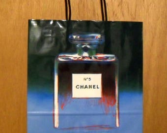Vintage 1990s Andy Warhol Chanel No. 5 Perfume Promotional Large Blue Paper Shopping Bag Designer Fragrance Collectible