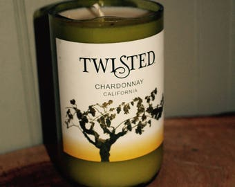 Soy Candle in Up-Cycled Wine Bottle