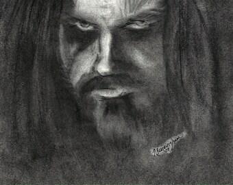 """Portrait Drawing Art Print : """"Super Beast"""" - Rob Zombie Art"""