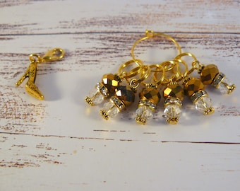 Golden Slipper Stitch Markers Set, Stitch Markers, Crochet Markers, Knitting Accessories, Beaded Markers, High Heels