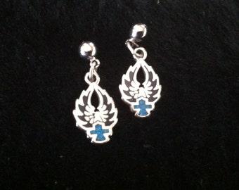 Silver Harley Davidson Eagle w/Turquoise Shield - post earrings