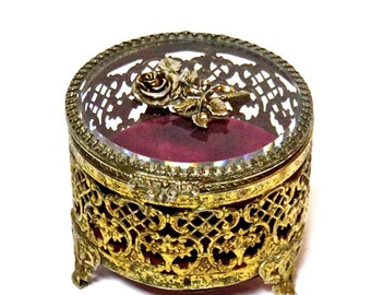 Ormolu Brass Jewelry Casket Brass and Glass Trinket Box, Mid Century Vanity Item Red Velvet