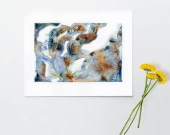 blue waterfall,  minimalist watercolour, abstract watercolour art, modern wall art, contemporary watercolour art, gallery wall, 6x8