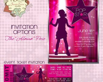 POP Star Invitation / Party DIY Printable Party Invitation / Event Ticket / Thank You Card