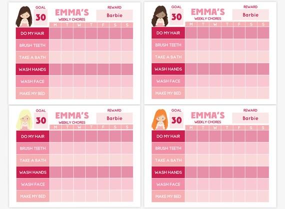 Editierbare wöchentlichen mühsam Chart druckbare Kinder