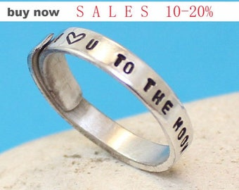 """I love u to the moon and back"""".. Custom Aluminum Ring - Adjustable Wrap Ring.. Personalized  Ring.. Hand Stamped. YOu WiLL LOvE iT"""