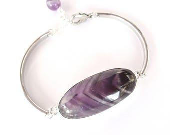 Bracelet femme, Bracelet Améthyste, Bracelet argenté et mauve, bracelet  jonc fin argenté