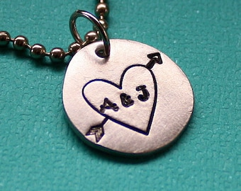 Arrow Through My Heart Necklace - Hand Stamped Jewelry - Custom Pendant
