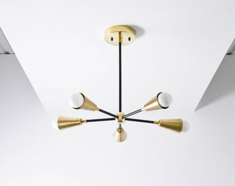 Black and Brass Mix Modern Chandelier 5 Arm Pinwheel With Cone Covers Bulb Sputnik Mid Century Semi Flush Hanging Light UL Listed